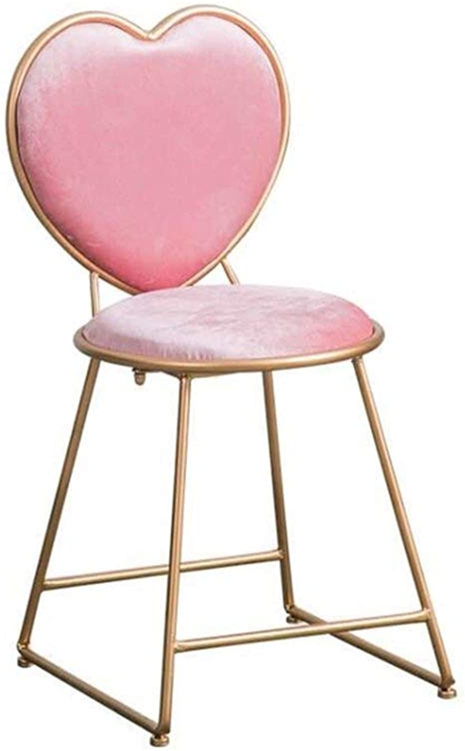 Home Decor Chair, Metal Frame Coral Fleece Chair, Ladies Heart Shaped Makeup Chair, Family Dining Chair Creative Dining Chair GMING (color   40  45  80cm)