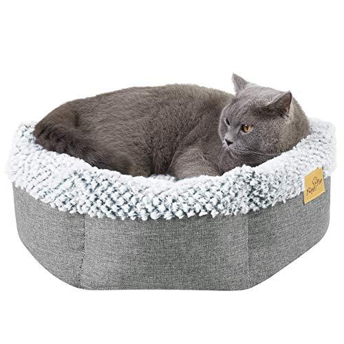 BingoPaw Hundebett Hundesofa mit Wendekissen, Haustierbett Hexagon Hundekorb´mit erhöhter Rand, Waschbar rutschfest Katzenbett, S 50x50x18cm Grau