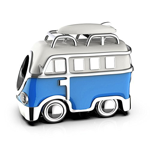 LSDesigns VW Campervan Charm - S925 Sterling Silver Bead fits Pandora Charms for Women Moments Snake Chain Bracelet - Gift boxed for Christmas (Red)