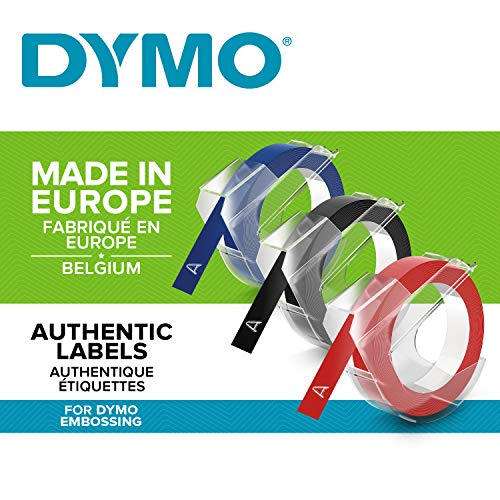 DYMO S0847750 Etichette Autoadesive a Rilievo in Vinile, Rotoli da 9 mm x 3 m, Nero/Blu/Rosso, Confezione da 3