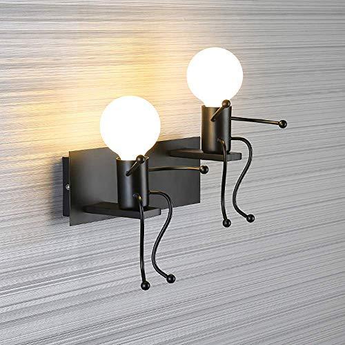 Humanoid Creative Wall Light Lámpara de pared interior Lámpara de pared moderna Lámpara Art Deco Hierro E27 Base para dormitorio, Habitación de niños, Pasillo, Restaurante, Escalera, Cocina, Bombill