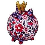 POMME PIDOU Nuovo salvadanaio Queen Pig Betty | Maiale salvadanaio originale in ceramica | fiori viola rosa | regalo esclusivo con scatola da regalo gratis | amorevolmente fatto a mano