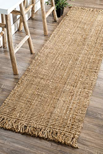 nuLOOM Natura Collection Chunky Loop Jute Runner Rug, 2' 6' x 8', Natural