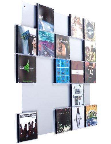 CD-Wall CD-Regal/Farbige Design CD-Wand/CD Wandregal/CD Wandhalter/CD Halter Square 5x5 Farbe: weißaluminium für 25CDs zur sichtbaren Präsentation Ihrer Lieblings Cover an der Wand
