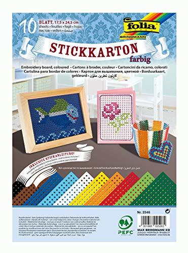 folia 2346 - Stickkarton, 17,5 x 24,5 cm, 10 Blatt, farbig sortiert, unbedruckt mit Stickanleitung - ideal für erste Stickübungen für Kinder