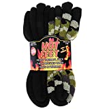 Hot Feet Cozy, Heated Thermal Socks for Men, Warm, Patterned Crew Socks, USA Men's Sock Sizes 6 – 12.5 - Hot Feet (Green Camo/Solid Black) (2 - Pack)