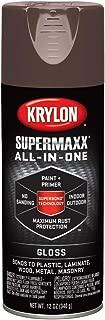 Krylon K08960000 SUPERMAXX All-In-One Spray Paint, Gloss Leather Brown, 12 Ounce