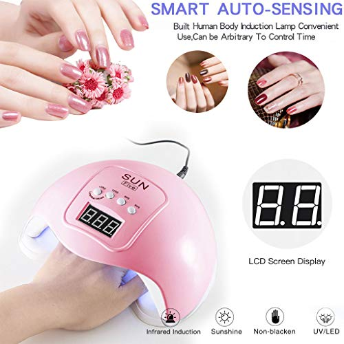 Gel UV LED Nail Lamp,LKE Nail Dryer 48W Gel Nail Polish LED UV Light with 3 Timers Professional Nail Art Tools Accessories White Pink (Pink, 48W)