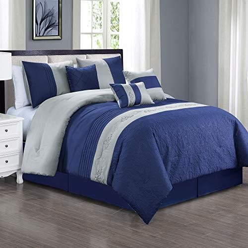 Dovedote Navy, 7 Piece Lavinia Oversized Luxury Bed in Bag Microfiber Comforter Set, Queen