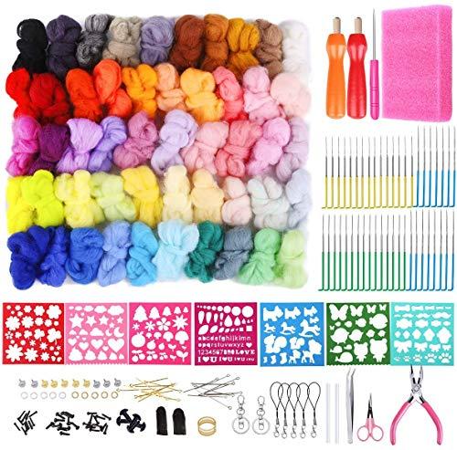 Nadelfilz Set für Anfänger, 50 Farben Trockenfilzen Wolle Märchenwolle mit 3 Größen Bunten Filzen Nadeln, Holzgriff, Schere, Wollfilz Form und andere Zubehör für Filzen Handwerk DIY