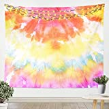 Pink Tie Dye Tapestry,Boho Hippie Bedding Throw Blanket,Yellow Orange Swirl Batik Tie Dyed Wall Hangings Arts,Bright Blue White Abstract Rainbow Tapestries for Kids Girls Adult Room Decor,Small 51x 59