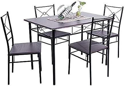 Genial FurnitureMall Table à Manger 5 Pièces Avec 4 Chaises En Bois Et Métal Pour  Salle à