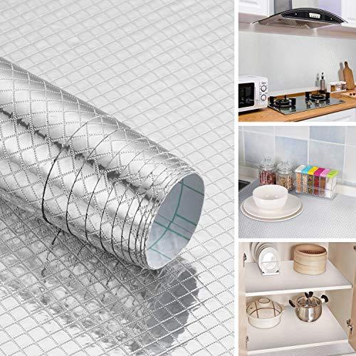 Aluminium Folie Küchen Aufkleber Selbstklebende Küchenfolie Hitzewiderstandsfähig Klebefolie 61X5cm Öl-Resistent Wasserdicht Anti-Schimmel DIY Möbel Folie für Küchen Arbeitsplatte Küchenwand Küchenschrank