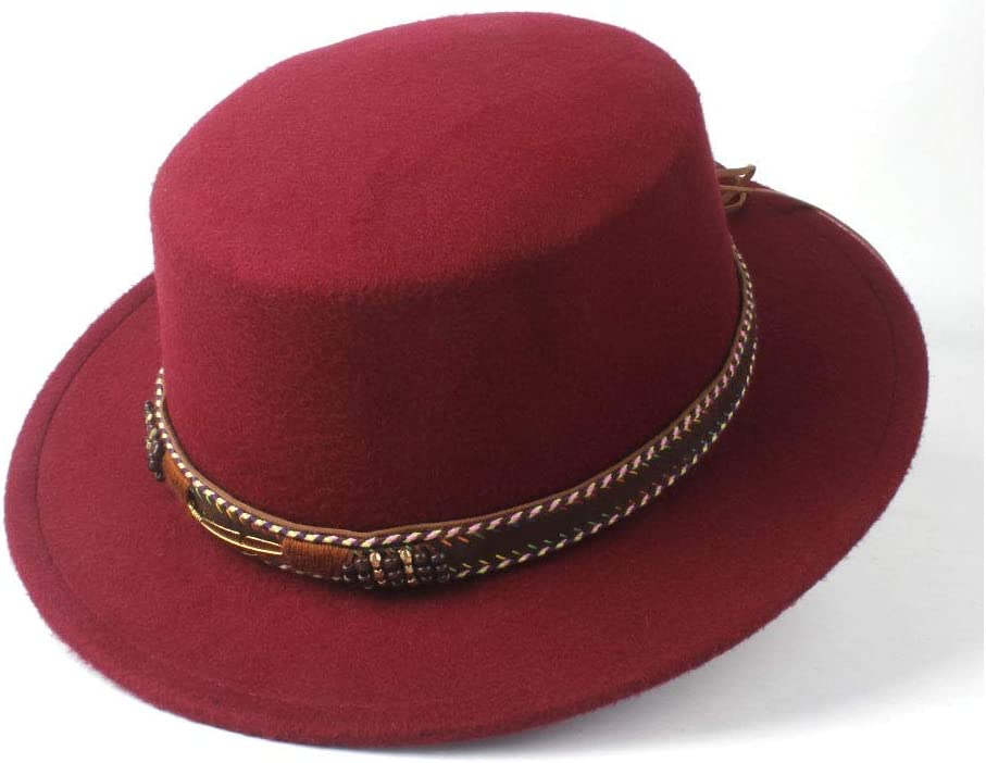 HXGAZXJQ Hxgang 2019 Men Women Fashion Flat Top Hat Dance Party Hat Fedora Hat for Gentleman Wool Cap Fedora Hat Size 56-58CM (Color : Wine red, Size : 56-58)