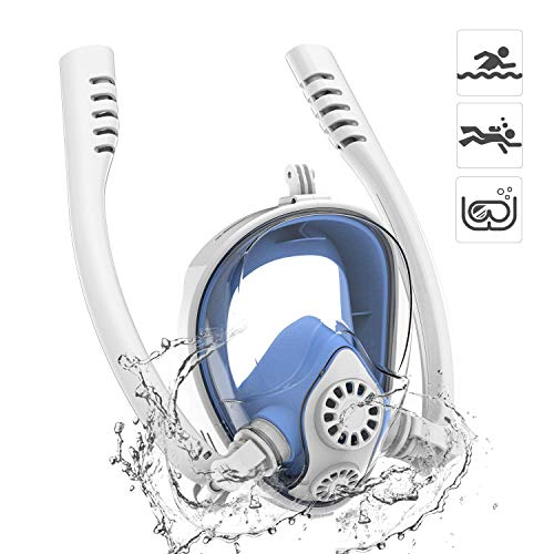 180° Máscara de Esnórquel Panorámica Facial Máscara Buceo Cara Completa 2019 Nuevo Doble Tubo con Desmontable Montura para GoPro Acción Cámara, Antifugas y Antiniebla para Adultos y Niños - Azul S/M