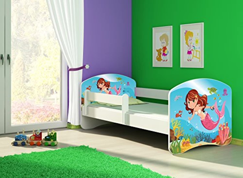 Clamaro 'Fantasia Wei' 140 x 70 Kinderbett Set inkl. Matratze und Lattenrost, mit verstellbarem Rausfallschutz und Kantenschutzleisten, Design  09 Meerjungrau