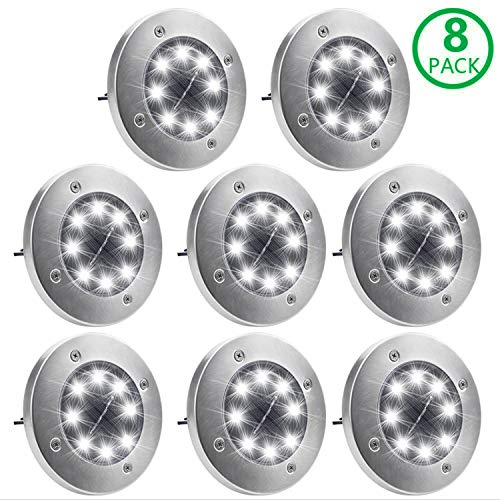 Solar Ground Lights, OTYTY Garden Pathway Outdoor in-Ground Lights with 8 LED (8 Pack White)