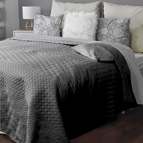 HOMELEVEL Tagesdecke Bett & Sofaüberwurf Bettüberwurf Sofa Tages Decken Betthusse XXL Decke Überwurf (200cm x 220cm, Hellgrau/Dunkelgrau Gemustert)