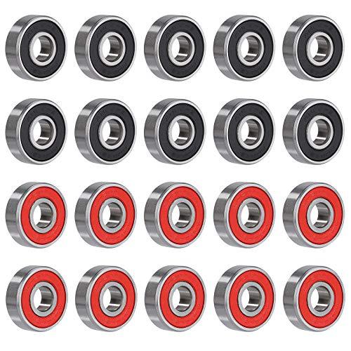 MengH-SHOP Rodamientos de Bolas 608RS Cojinetes de Bolas de Ranura Profunda Sellado Doble para Skateboard Scooter Patines 20 Piezas