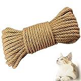Gxhong Cuerda de sisal, Cuerda para Gatos Adecuada para Rascador para Gatos, Juguete Gato y Arbol para Gatos, También Apto para Jardin, Jardineria y DIY (50M*6MM)