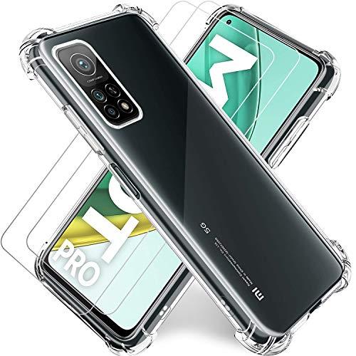 "Funda para Xiaomi MI 10T/10T Pro 5G Transparente,Carcasa Mi 10T/10T Pro 6.67""+2Pack Cristal Templado y Protector de Pantalla,Silicona TPU Airbag Anti-Choque Ultra-Delgado Case"