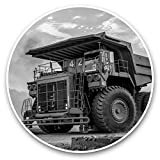 Impresionantes pegatinas de vinilo (juego de 2) 30 cm BW – Big Yellow Dumper Truck Cool Fun Calcomanías para portátiles, tabletas, equipaje, reserva de chatarras, neveras, regalo genial #38529