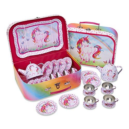 Juego de te de juguete en maletin de color rosa con unicornio magico de Lucy Locket - Vajilla infantil de estano de 14 piezas
