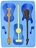 Generic Guitar Ice Cube Tray with 3 Stirrers, Blue, One Size