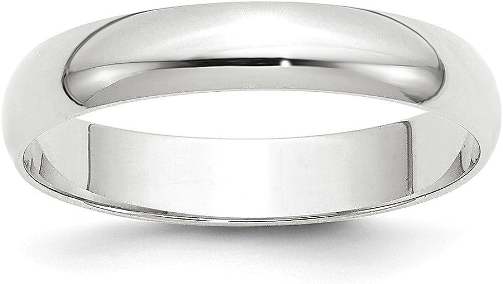 Solid 14k White Gold 4mm Half Round Wedding Band
