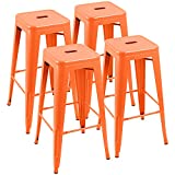 Furniwell 30 Inches Metal Bar Stools High Backless Tolix Indoor-Outdoor Stackable Barstool with Square Counter Seat Set of 4 (Orange)