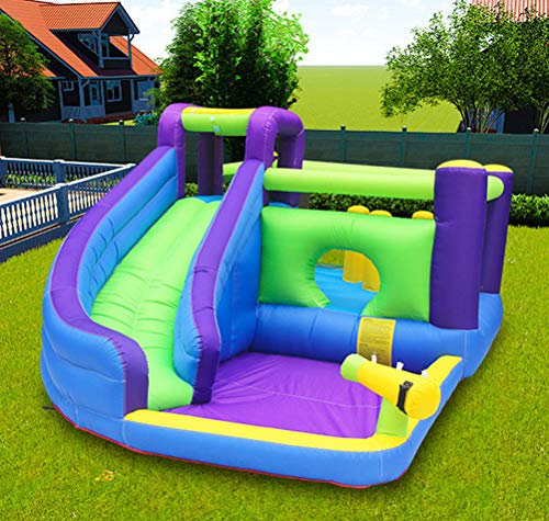 Inflatable Bouncy Castle, Water Children's Slide Home Small Trampoline Indoor And Outdoor Play Equipment Jumping Bed Inflatable Castle 465 * 285 * 205Cm