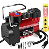 Smashier Portable Air Compressor Tire Inflator - 12V DC Digital Pump with Gauge for Car, Motorcycle, Ball, Air Matresses, 12FT Extended Cord, Upgraded Quick Connector, Extra Fuse, Easy &Fast Inflation