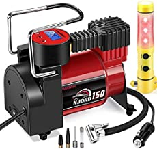 Smashier Portable Air Compressor Tire Inflator - 12V DC Digital Pump with Gauge for Car, Motorcycle, Ball, Air Mattress, 12FT Extended Cord, Upgraded Quick Connector, Extra Fuse, Easy & Fast Inflation
