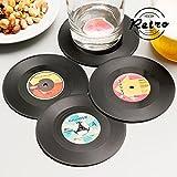 Retro die ¶ Nostalgiker sich kaufen der Untersetzer Medien in Vinyl Vintage (Packung von 4).Hergestellt In plasticadimensioni Ungefähre (Durchmesser x Dicke): 10, 5x 0, 1cm