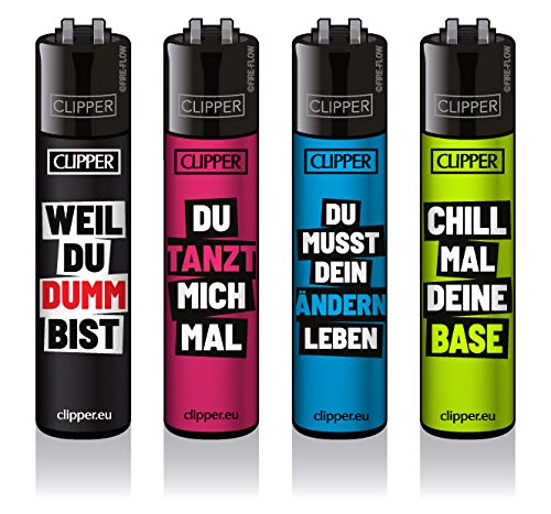 Clipper® Feuerzeuge - Slogan #18-4er Set