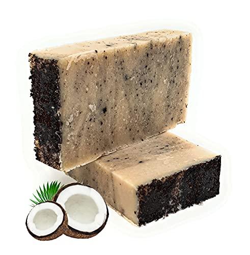 Kiwooy Jabón orgánico hecho a mano, sin plástico, 2 unidades (jabón de aceite de coco y oliva),...