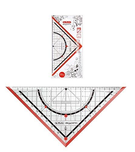 "Herlitz Geometriedreieck ""my.pen"" / 25cm / mit Griff / Farbe: rot"