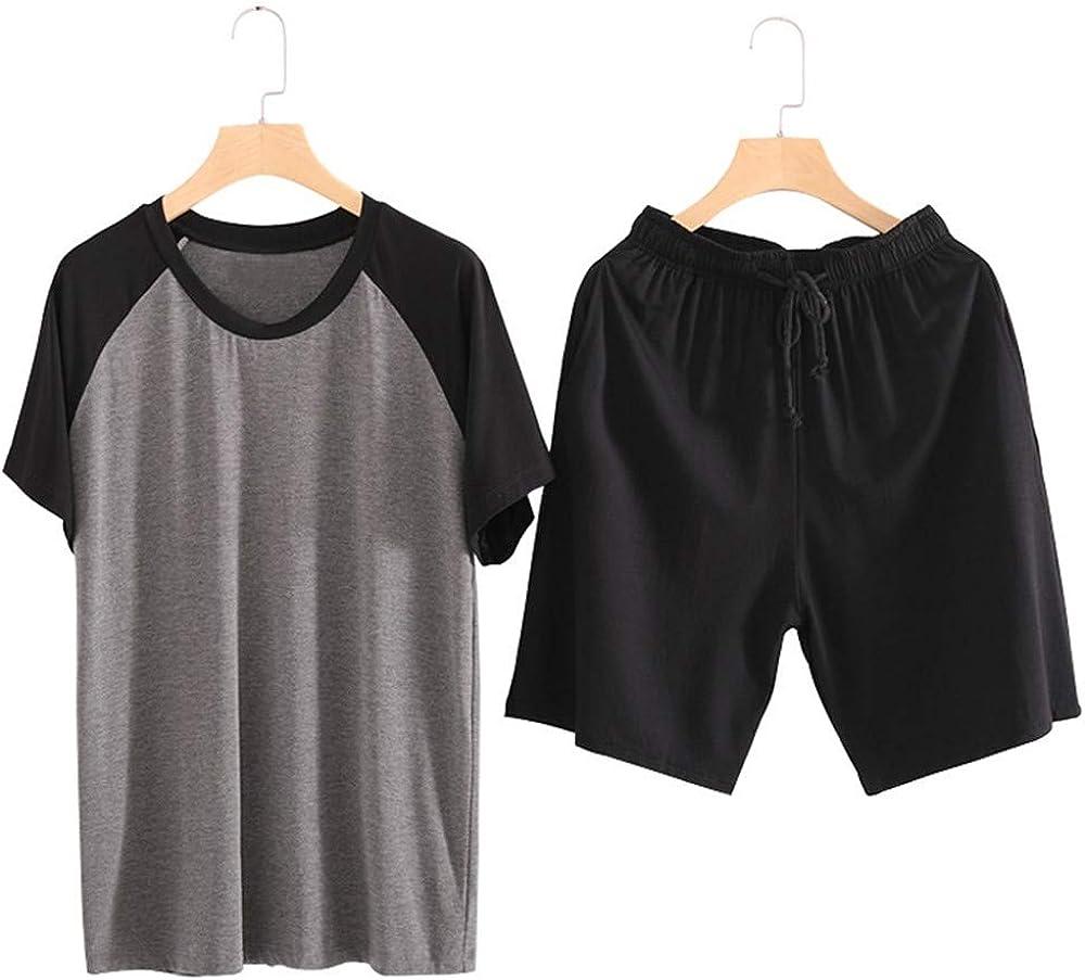 Men Modal Cotton Pajama Set Short Sleeve and Shorts Sleepwear Soft Pj Sets Nightwear M-6XL