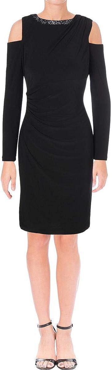 LAUREN RALPH LAUREN Womens Kirschella Cold Shoulder Cocktail Dress Black 16