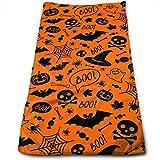 N/W Halloween Boo Black Pumpkins Bats Skulls Skin-Friendly Hand Towels 11.8 X 27.5 in Funny Orange Spiders Ghosts Ultra Soft Highly Absorbent Microfiber Multipurpose Kitchen,Bath,Swimming,Bath Towel