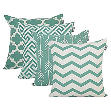 Accent Home Cotton Canvas Throw Cushion Cover Printed Both Side For Home Sofa Couch, Chair Back Seat,4pc pack 18x18  in Color TEAL