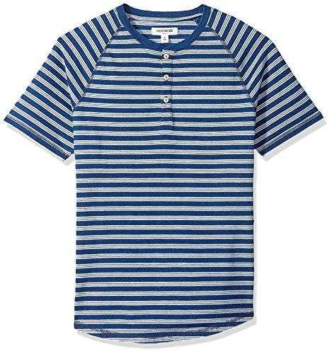 Amazon Brand - Goodthreads Men's Short-Sleeve Indigo Henley, Dark Triple Stripe, Medium