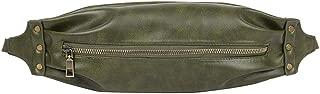 Waymine Women's Unisex Messenger Bag Vintage Neutral Outdoor Zipper Leather Square Sport Chest Bag Waist Bag