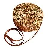 手作りの織ラタンラウンドバッグ、ラタンバッグ、夏のビーチハイキング、トラベルバッグ用レザーストラップ付きクロスボディビーチ俵