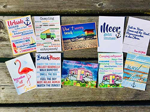 Postkarten Set 10 Stück AnneSvea postcard Urlaubsgrüße Camper Bus Wohnmobil Wohnwagen Van Deko Adventskalender Befüllung Meer Flamingo
