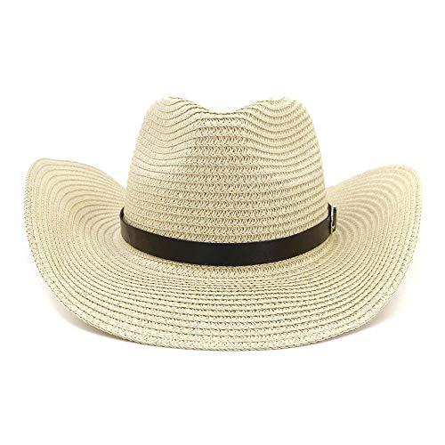JIANGJINLAN zomer western cowboyhoed stro-zonnehoed mannelijk outdoor strandhoed vizier vrouwen zonnehoed pet dunne riem decoratie 56/58 cm kaki