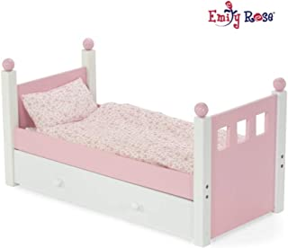 Emily Rose 18 Inch Doll Furniture   Lovely Pink and White Single Trundle Bed / Storage Drawer, Includes Thick, Plush Bedding   Fits 18