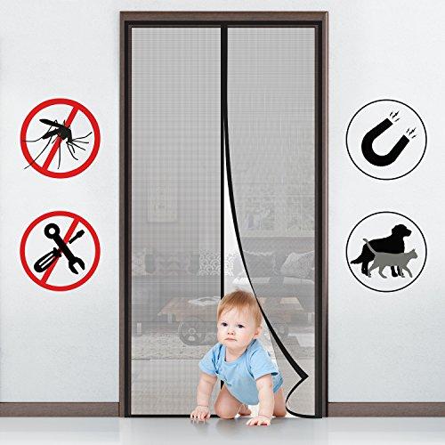 MYCARBON Magnet Fliegengitter Tür Insektenschutz Balkontür Fliegenvorhang 90x210 | 110x220 - Klebmontage ohne Bohren - Vorhang für Balkontür Wohnzimmer Schiebetür Terrassentür