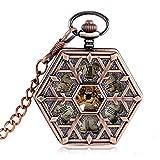 J-Love Steampunk Snowflake Fashion Rose Gold Reloj de Bolsillo mecánico para Enfermera Forma Hexagon...