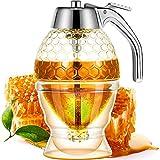 Miele Acrilico Dispenser sciroppo Vaso con Miele Verticale Contenitore Anti-Goccia di Miele Dispenser Jar Syrup Juice Dispenser